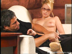 Cock hungry blonde geek blows and fucks huge dork