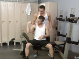 Hot twink uses his trainer to work out his asshole