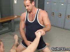 Horny kinky dudes jerking off in the locker room